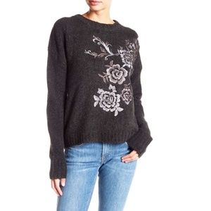 BLANK NYC Floral Embroidered Gray Sweater Size S